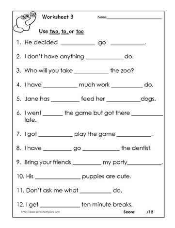 To Too Or Two Teaching Punctuation Worksheets Writing Dialogue