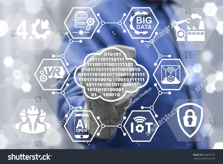 Digital Cloud Industry 4 0 Integration Concept Man Touched Cloud