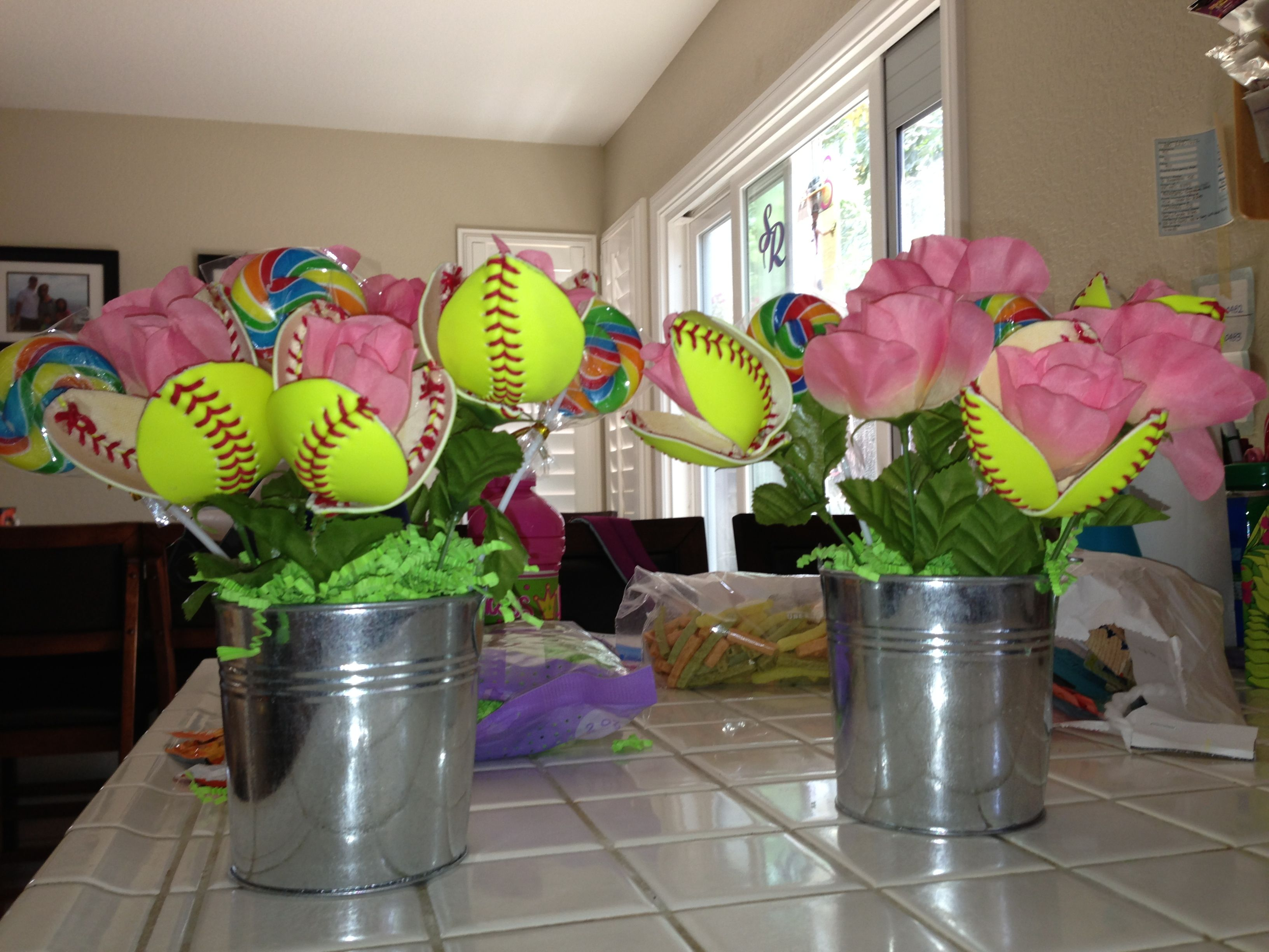 Softball flowers cut from real softballs found at the 99 cent