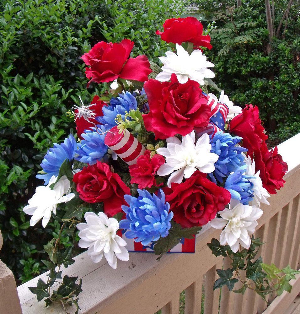Patriotic Floral Arrangement 4th Of July Flower Arrangement 4th Of