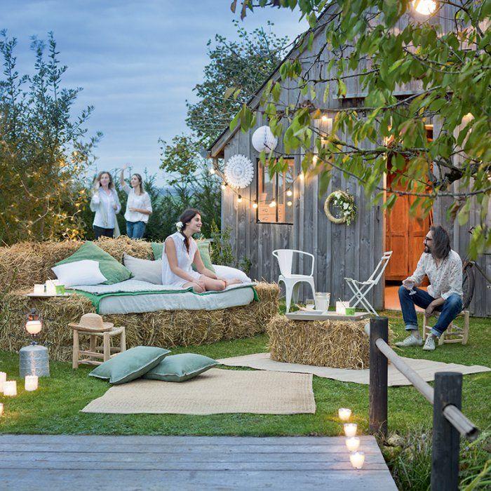 mariage champ tre 7 id es pour utiliser les bottes de paille. Black Bedroom Furniture Sets. Home Design Ideas