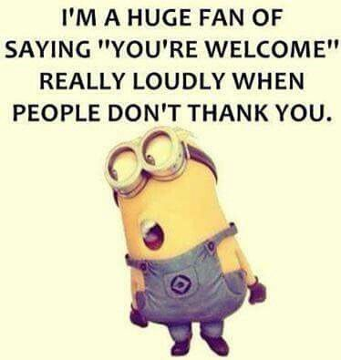 Funny minion saying thank you loudly with manners Funny