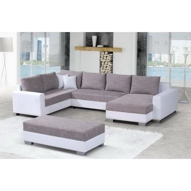 Canapé angle droit pouf tissu chiné gris et simili cuir blanc