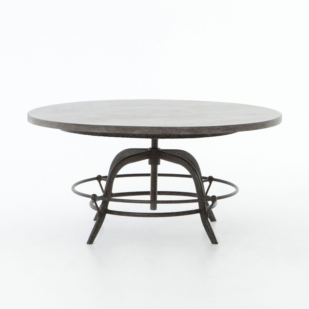 French Industrial Bluestone Top Round Crank Coffee Table #frenchindustrial