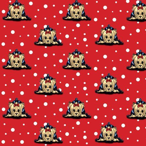 Playful Yorkie Cartoon M Fabric By Catiacho For Sale On Spoonflower Custom Fabric Wallpaper And Wall Decals