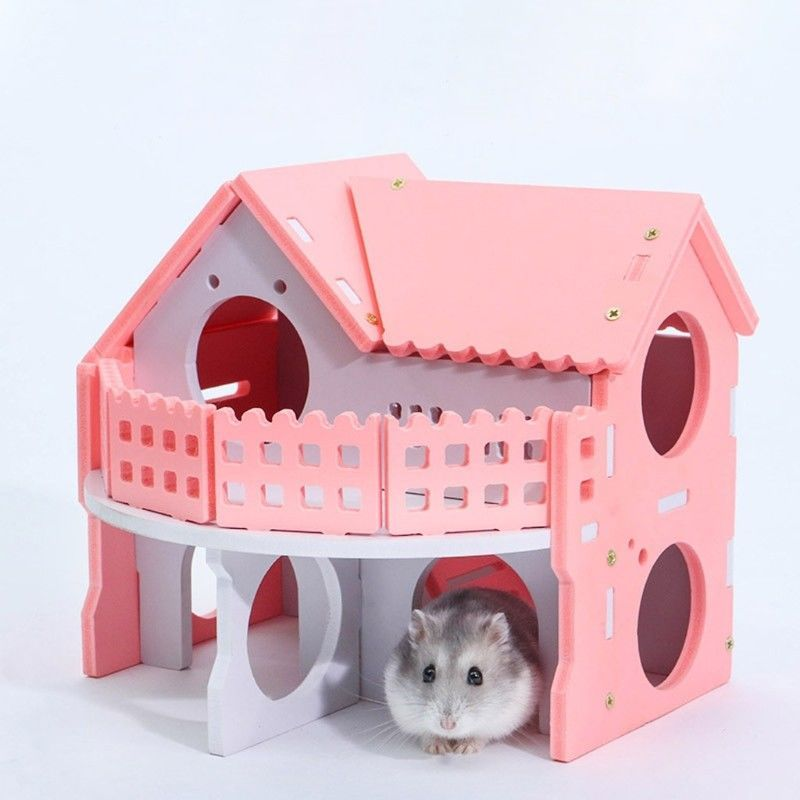 Dual Layer Both Can Work As A Habitat Made In Wood Material Cute Design Your Pets Will Have Fun With It Color As Th Hamster House Small Pets Cute Hamsters