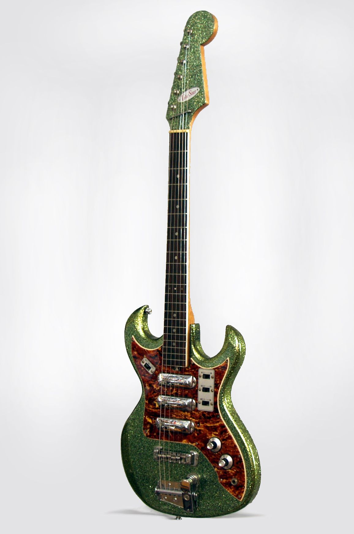 tele star model solid body electric guitar most likely made by teisco c 1964 made in japan green sparkle finish [ 1156 x 1744 Pixel ]