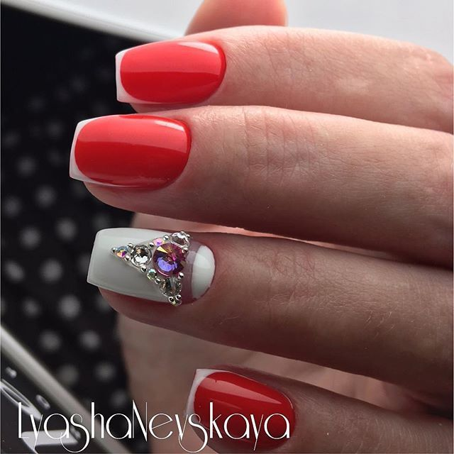 Love the red with white free edge.   Nagai   Pinterest   Bling nails ...