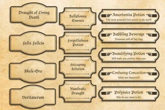 Magic  wizard labels party printables sorcery party decorations