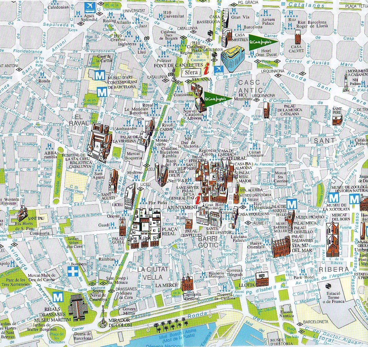 Mappa barcellona luoghi di interesse luoghi da visitare for B b barcellona economici centro