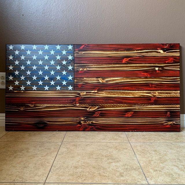 Rustic American Flag Wall Decor, Rustic Wooden Color, Charred American Flag, Classic American Flag, Living Room Wall Art