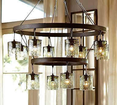 Foyer light option 2. Rhone Glass Tiered Chandelier #potterybarn ...
