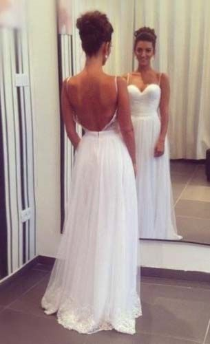 play up boobs, straps, plunge back, makes waist look smaller Good style for prom. Not in white.