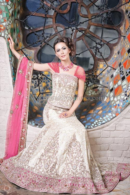Wedding Dresses Ivory Gold Brocade Silk Reception Lengha With