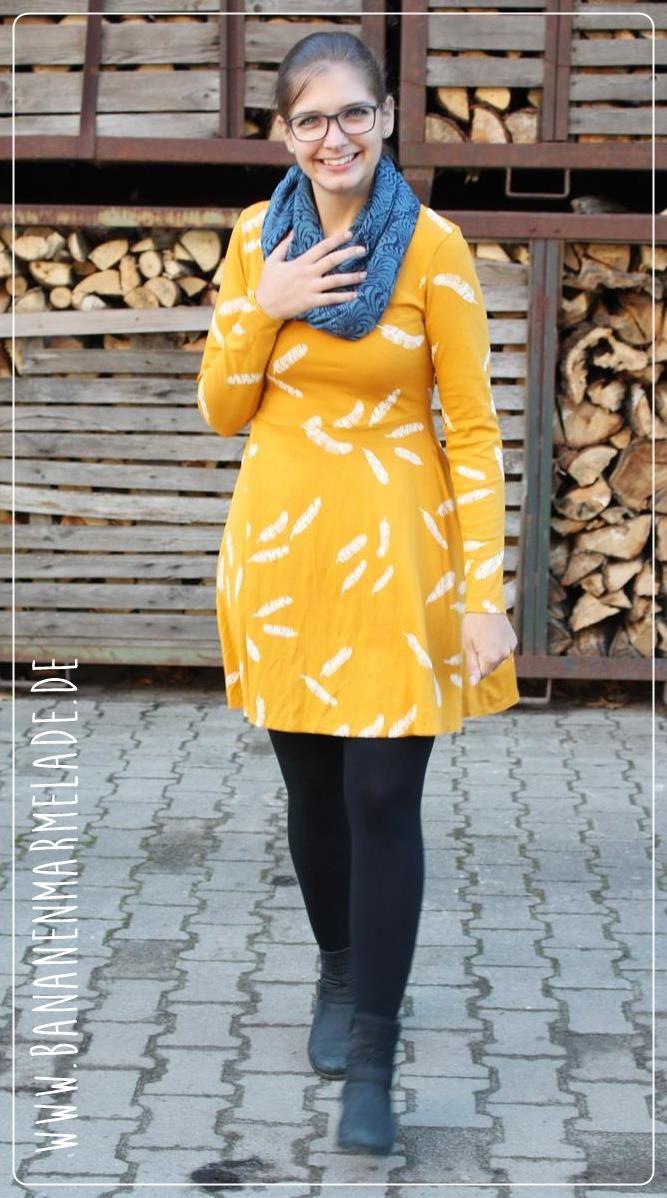 {genäht} Jerseykleid in gelb   Langärmelige kleider, Kleid ...