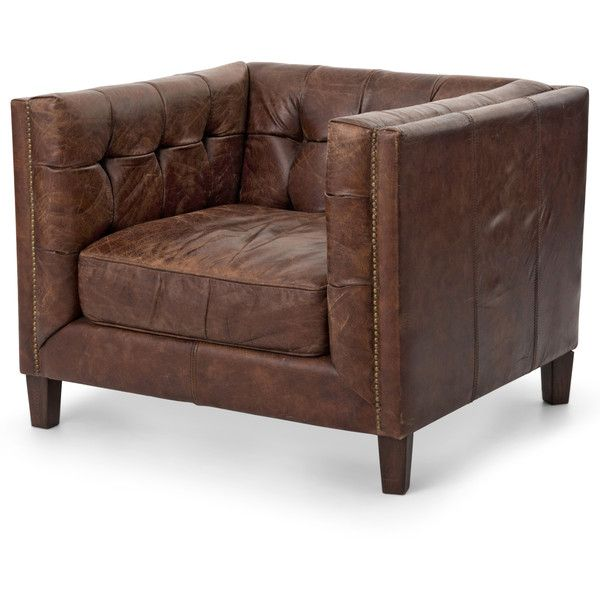Christopher Rustic Lodge Tufted Straight Back Brown Leather Armchair (735 KWD) ❤ liked on Polyvore featuring home, furniture, chairs, accent chairs, tufted leather chair, leather armchair, leather chair, leather accent chairs and oversized leather chair
