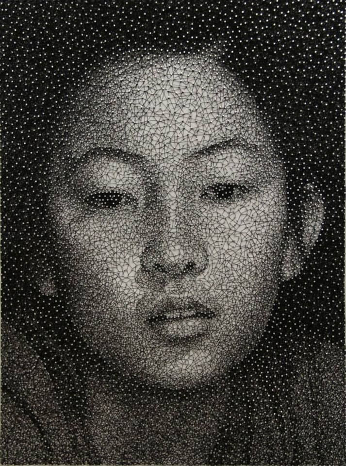Constellation: Portraits Made from Thousands of Small Galvanized Nails by Kumi Yamashita  Art People Gallery