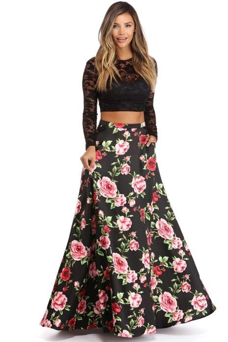 caca479a7533 Lora Black Two Piece Floral Gown | New Arrivals! | Floral gown ...