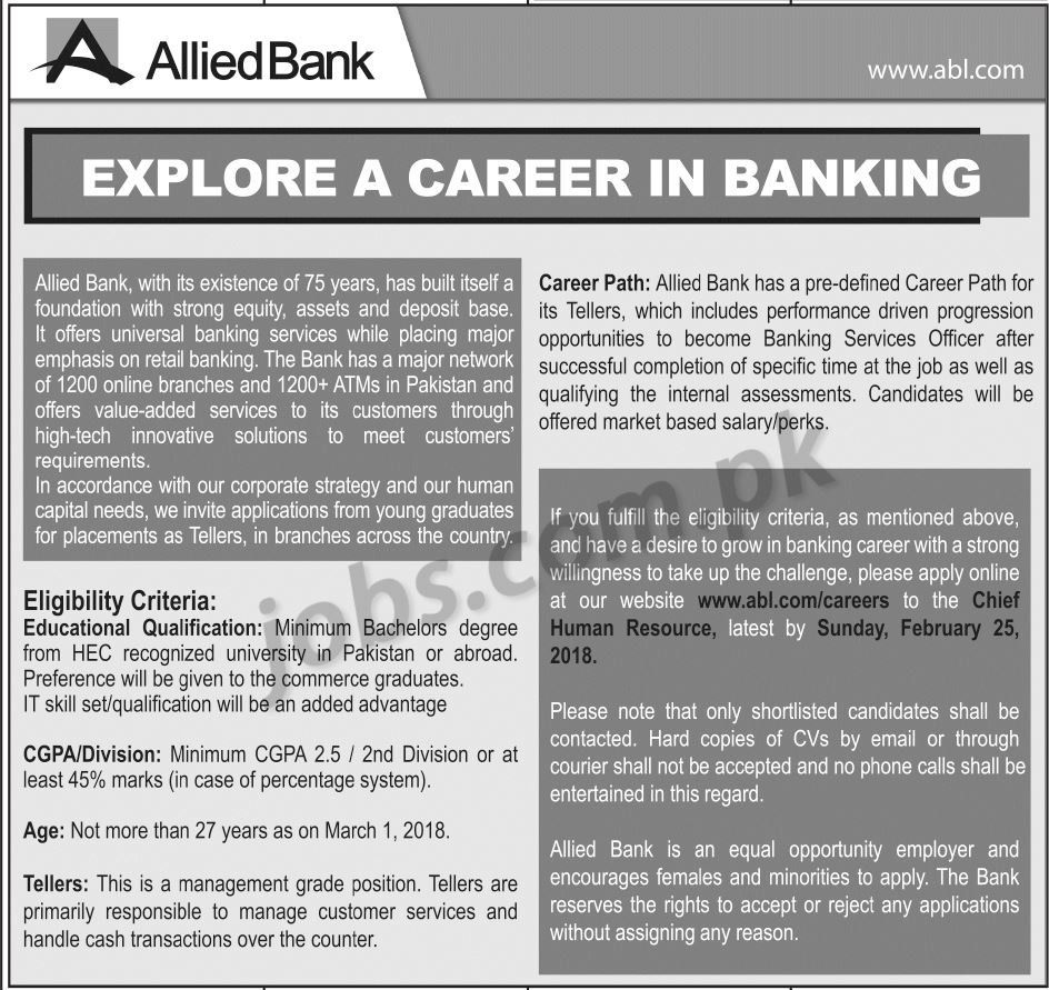 Allied Bank Ltd (ABL) Jobs 2018 for Tellers (Nationwide