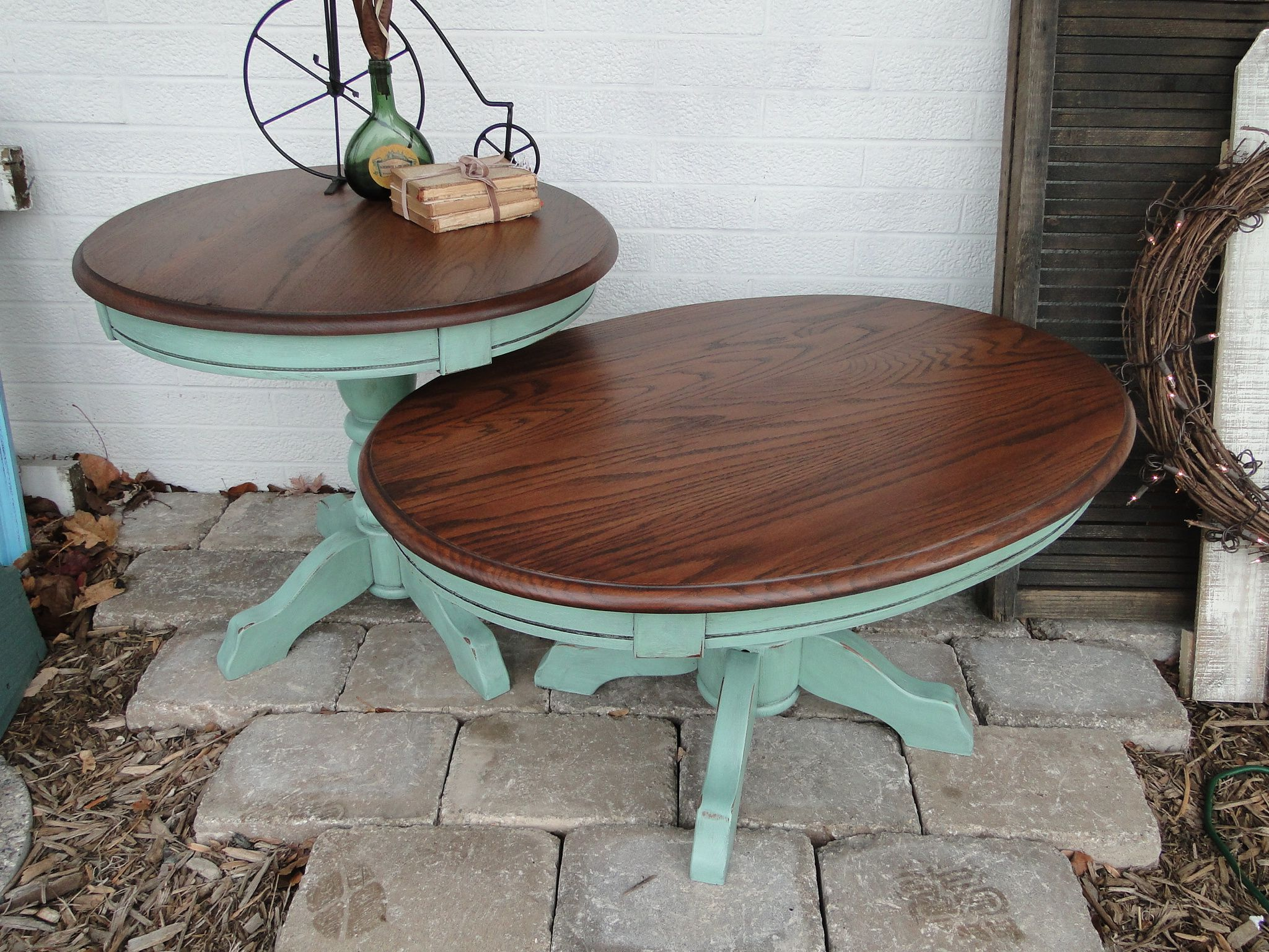 Small Coffee Table And End Table Medium Oak Top And Minty Green Bottom Modern Vintage