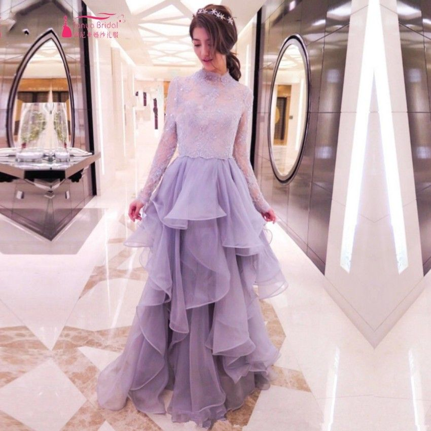 Find More Prom Dresses Information about New Fashion Spring Style High Collar Long Sleeves Lace Prom Dresses Appliques Beading Ball Gown Evening Prom Gown High Quality,High Quality Prom Dresses from Tanya Bridal Store on Aliexpress.com