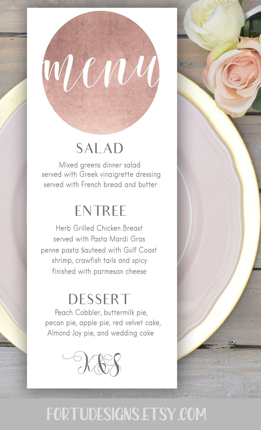 Rose Gold Wedding Menu Card Printable Personalized Cards Size 3 75x9