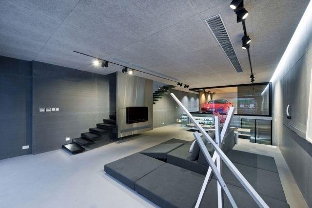 Luxushaus Einrichtung Hong Kong Wohnzimmer Grau Schwarze Schwebende