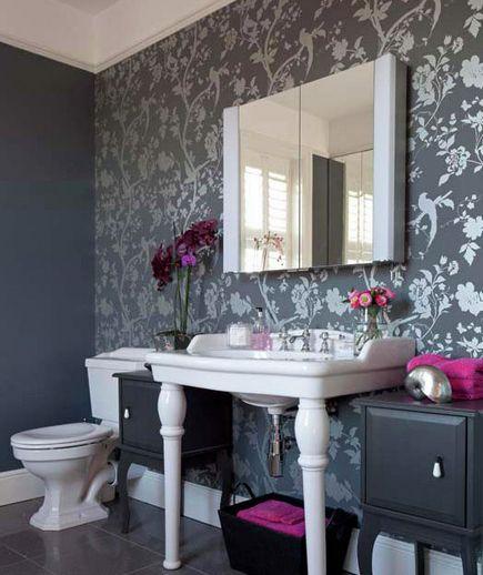 Best 25 wall paper bathroom ideas on pinterest bathroom for Bathroom wallpaper wall coverings