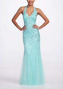This Stunning Beaded Mesh Prom Dress Screams Old Hollywood Glam