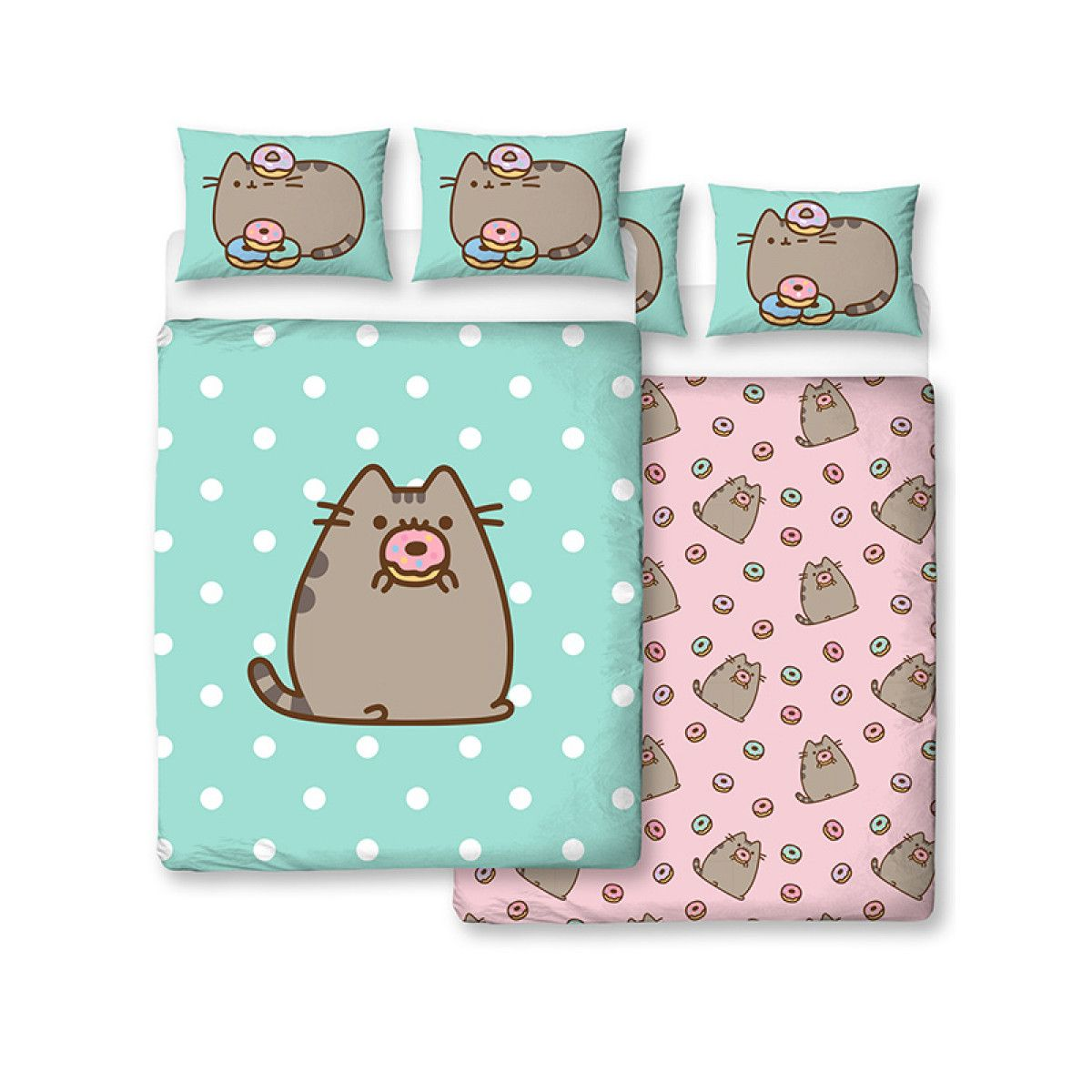 Pusheen Doughnut Double Duvet Cover and Pillowcase Set