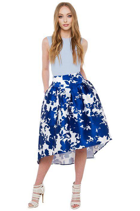 Bits & Pieces Sexy Blue Printed Midi Skirt ==