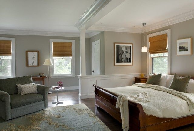 Gray Walls With Brown Blinds