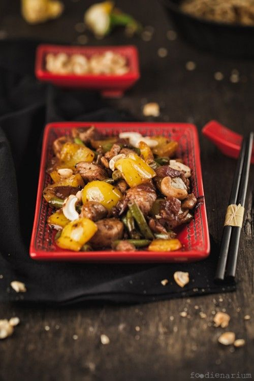 Sichuan pork with peppers green beans and cashews recipe asian pork forumfinder Choice Image