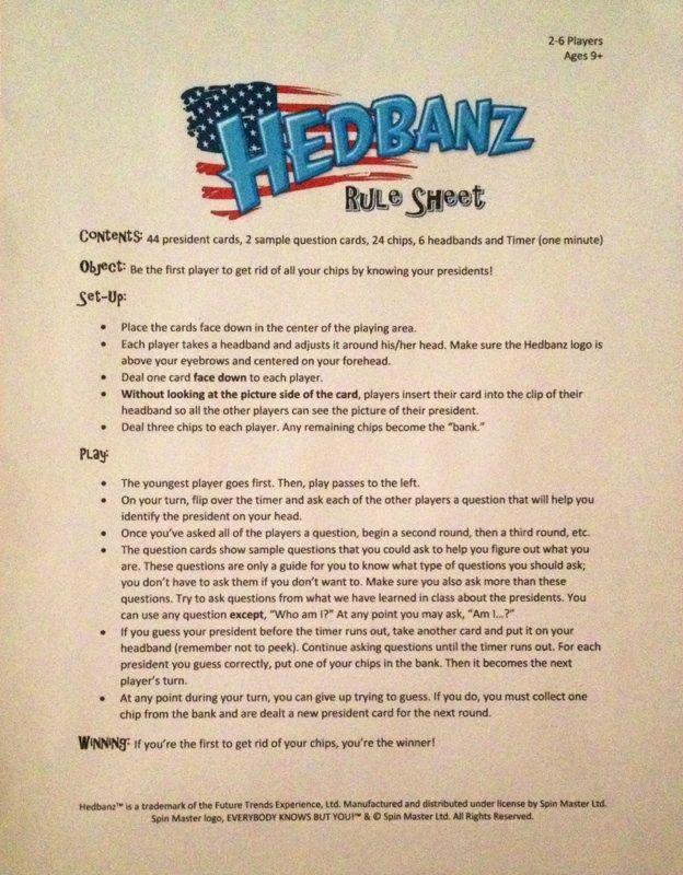 Hedbanz Rule Sheet President Version Teacher Inspiration