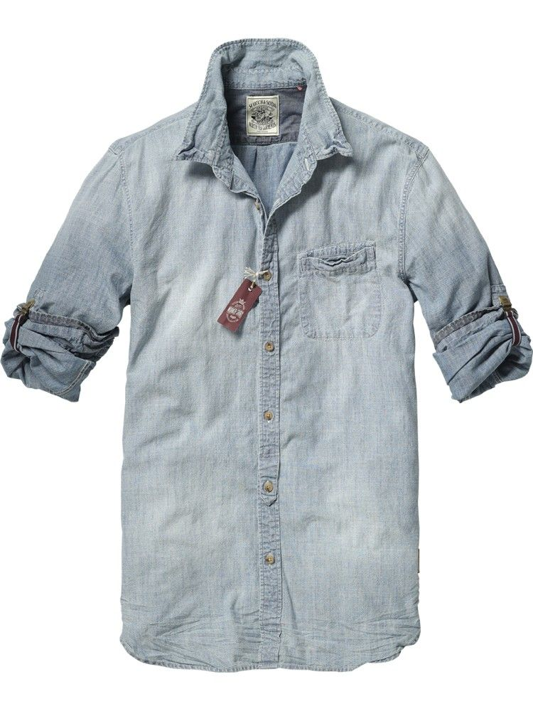 Japanese styled long-sleeved chambray shirt - Shirts - Scotch & Soda Online  Shop