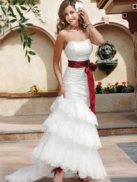 Lace Mermaid Wedding Dresses with Sash