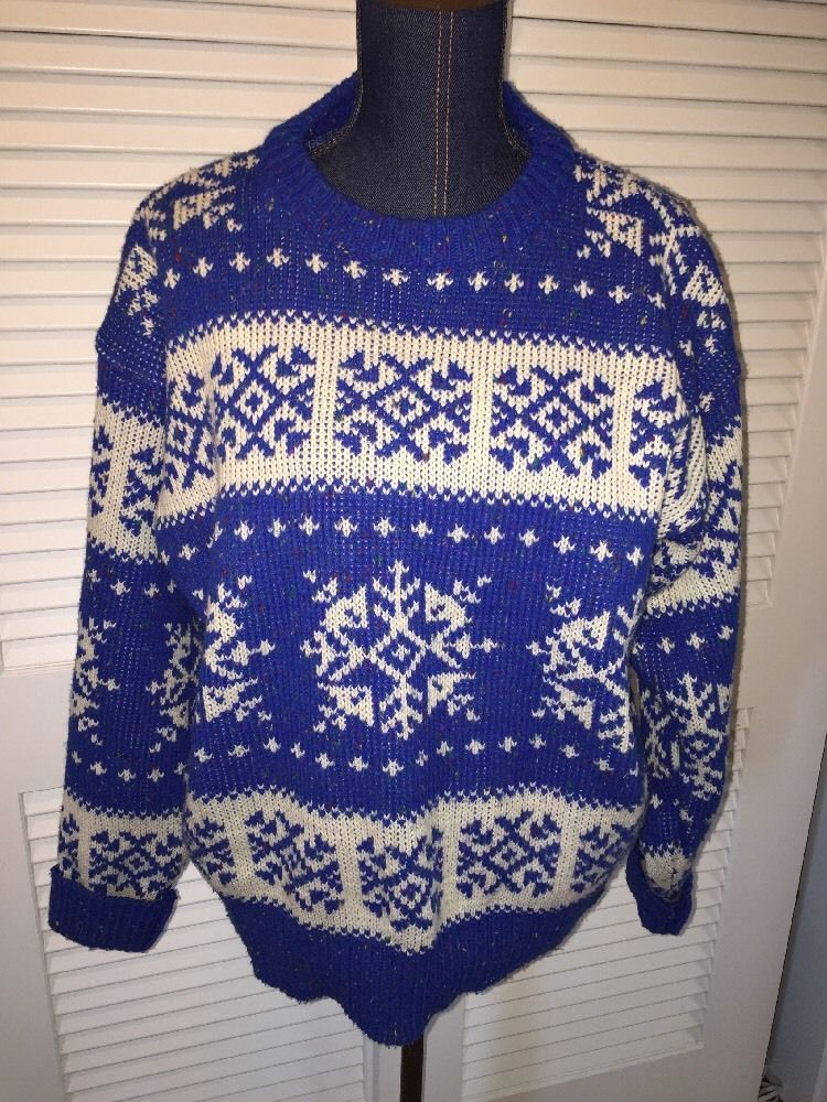 Mens Claybrooke Blue Snowflake Fair Isle Sweater XL Ugly Christmas ...
