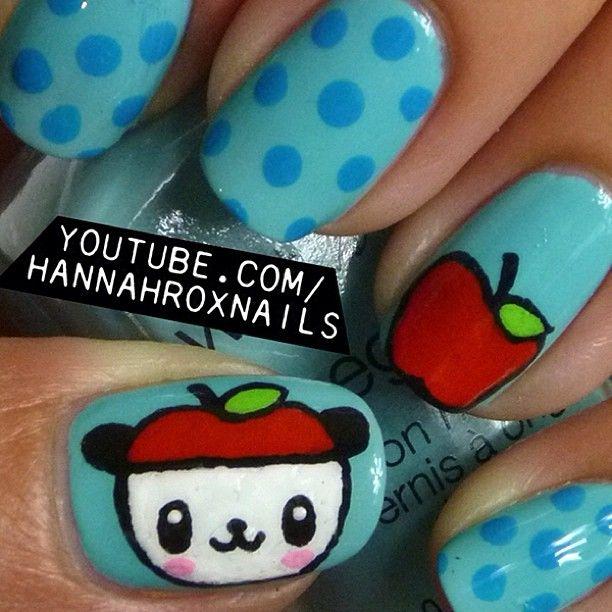panda apple  by hannahroxit #nail #nails #nailart