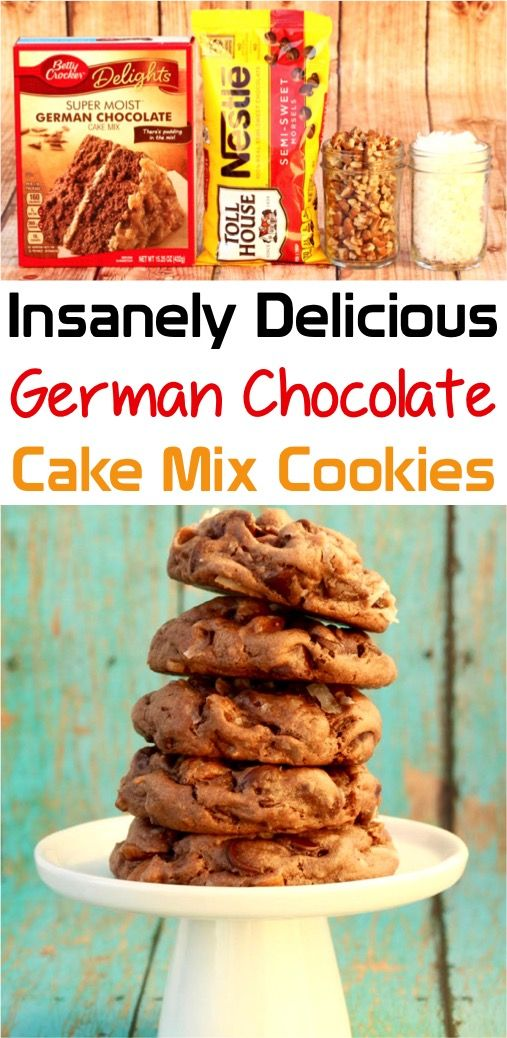 German Chocolate Cake Mix Cookies Recipe - Never Ending Journeys