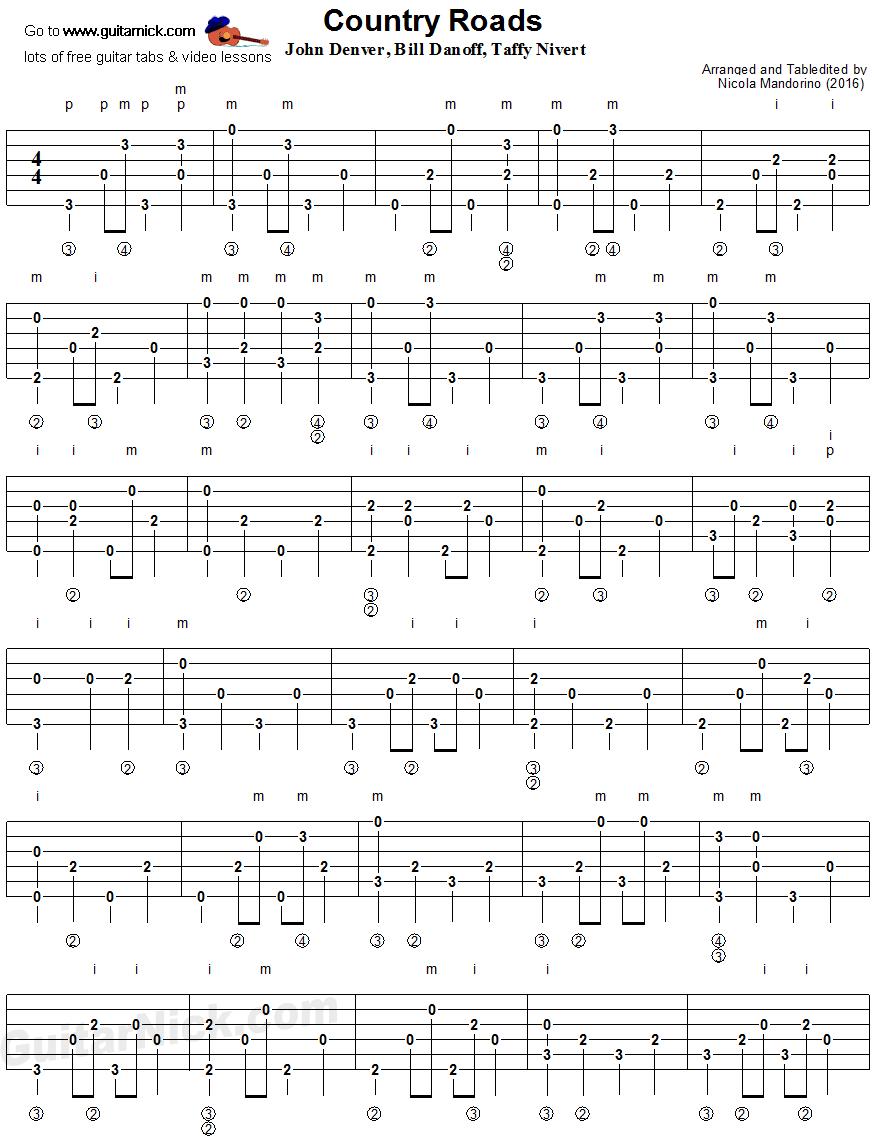 Country Roads Fingerpicking Guitar Tablature 1 Songs Pinterest