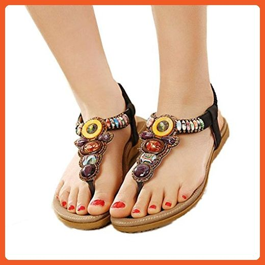 80153dc25fdf Summer Bohemia Sweet Beaded Sandals Womens Flat Shoes Fashion Sweet Clip  Toe Sandals Beach Shoes Herringbone ...