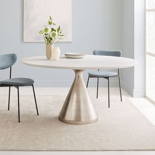 Silhouette Pedestal Oval Dining Table White Marble Brushed