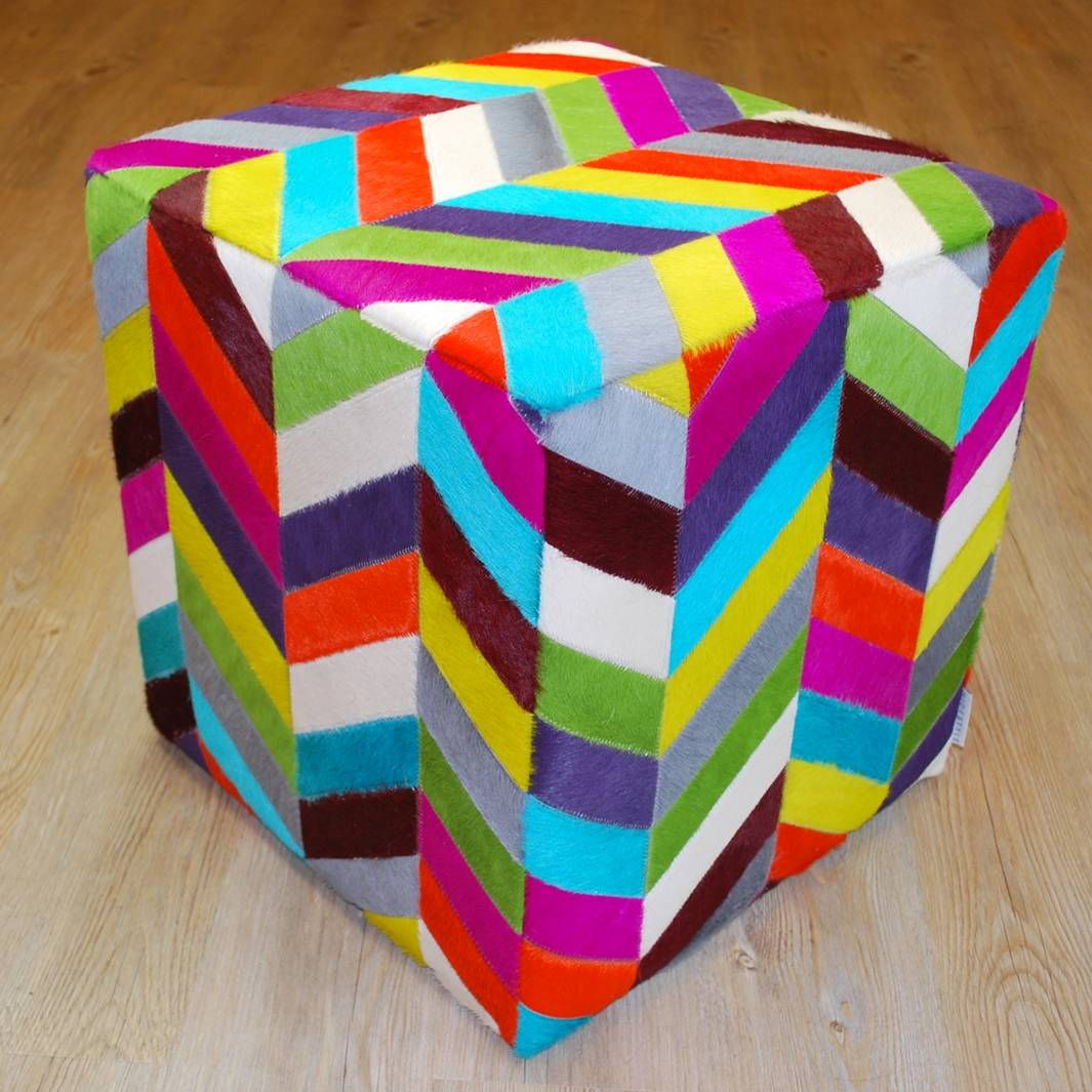 Coloured Zigzag Cowhide Cube Ottoman   Ottomans And Footstools | Interiors  Online   Furniture Online U0026