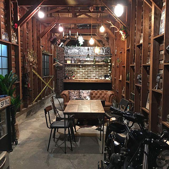 部屋全体/黒板はまだハロウィンバージョン/ブラウン/DIY/倉庫カフェ...などのインテリア実例 - 2017-11 ...