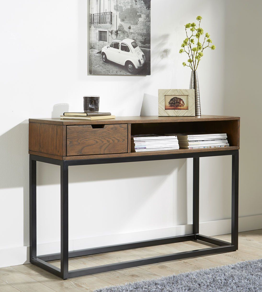Ellery Storage Console Table Made Of Solid Oak With Drawer Hallway
