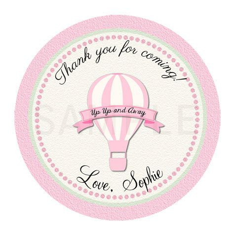 Hot air balloon label balloon baby shower balloon printable pink balloon sticker