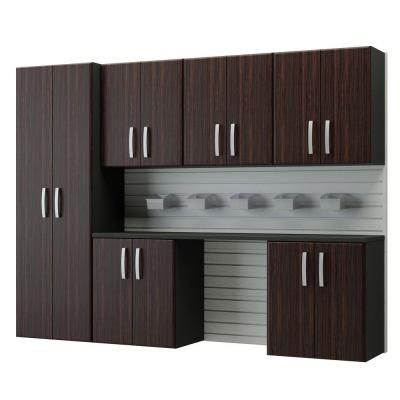 Beau Flow Wall Modular Wall Mounted Garage Cabinet Storage Set With Accessories  In Espresso (12 Piece) FCS 9612 6W 7E   The Home Depot