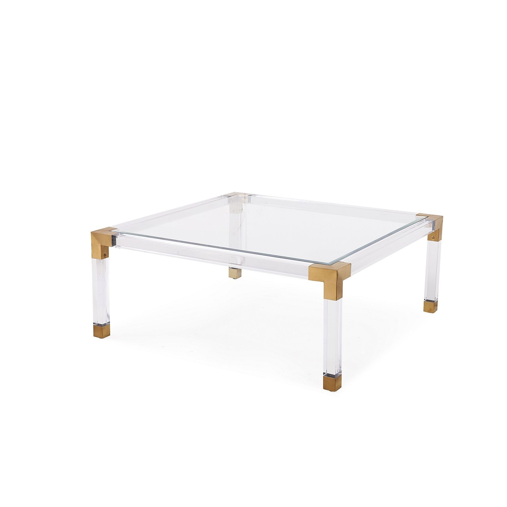 Havenhurst coffee table featuring 10mm clear beveled glass top