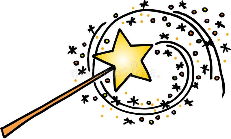 Magic Wand With A Trail Of Stars Vector Image On White