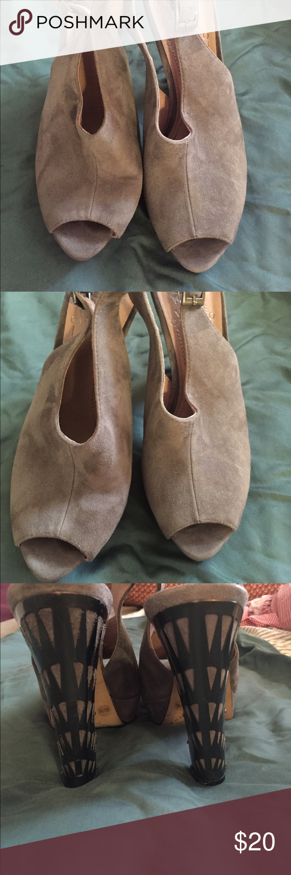 Vince Camuto Open Toe Gray Suede Shoes 6B  Used Beautiful and comfortable suede shoes gently worn no stains no blemishes little wear under the toes Vince Camuto Shoes Platforms